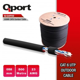 QPORT Q-CAT02 500Metre CAT6 Outdoor 23AWG 0.58MM UTP Makaralı